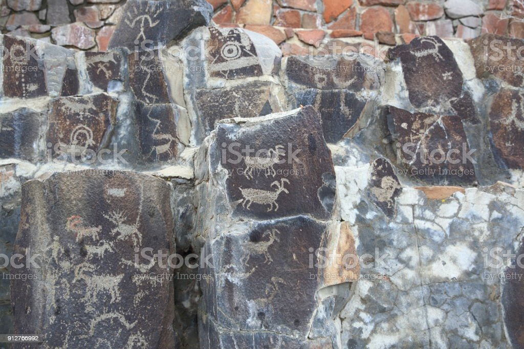 Indian Petroglyphs in Eastern Washington,USA stock photo