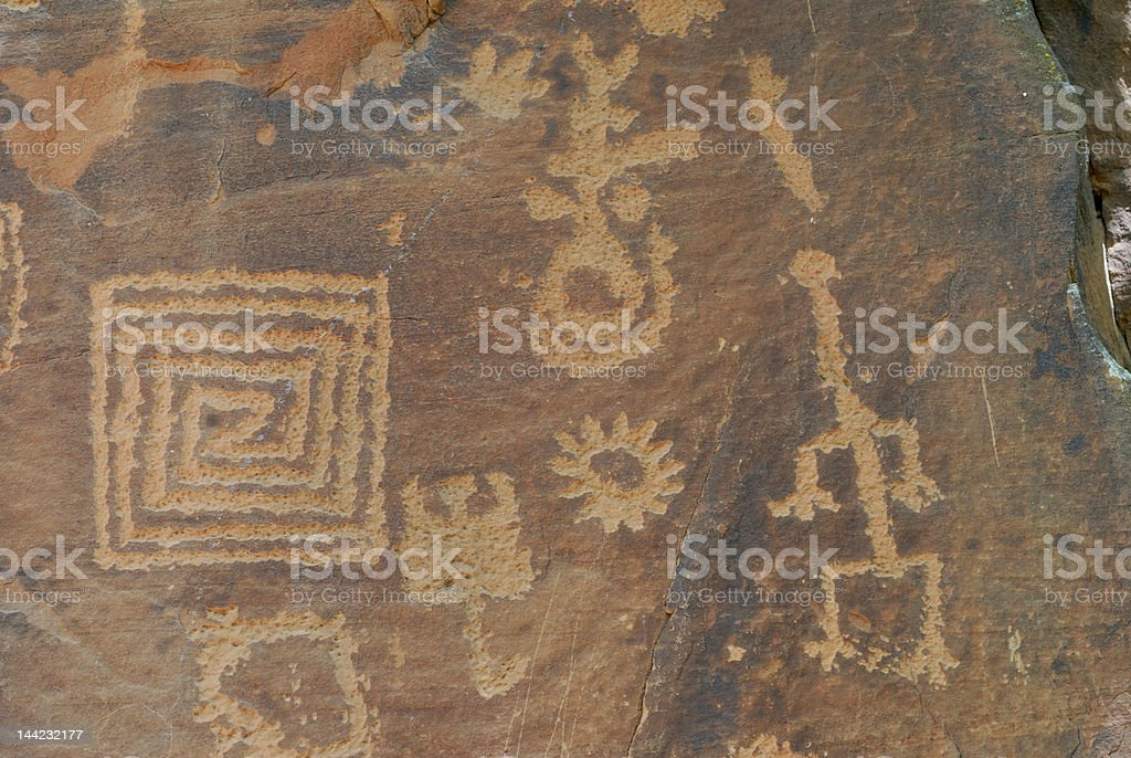 Indian petroglyphs stock photo