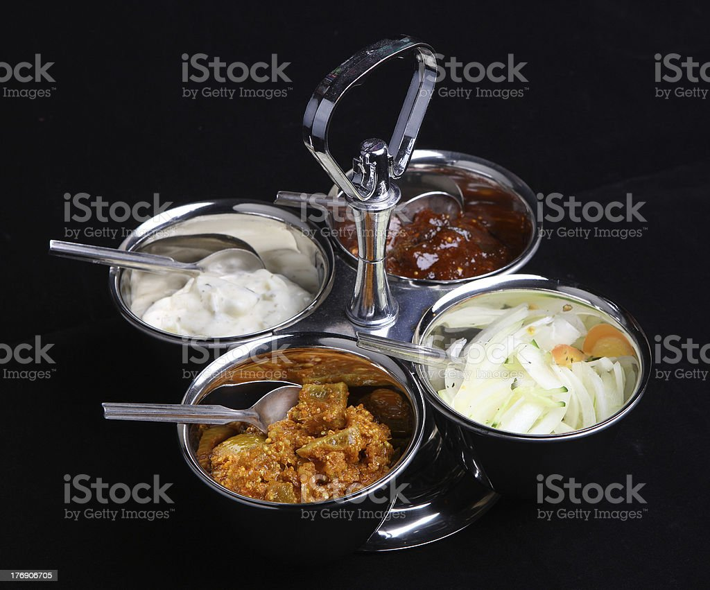 Indian Pickles and Chutneys stock photo