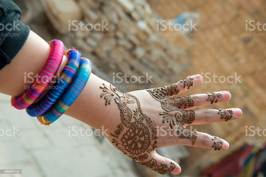 Indian picture on hands palms stock photo