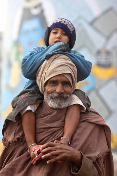Indian pilgrims in Varanasi, Uttar Pradesh, India stock photo