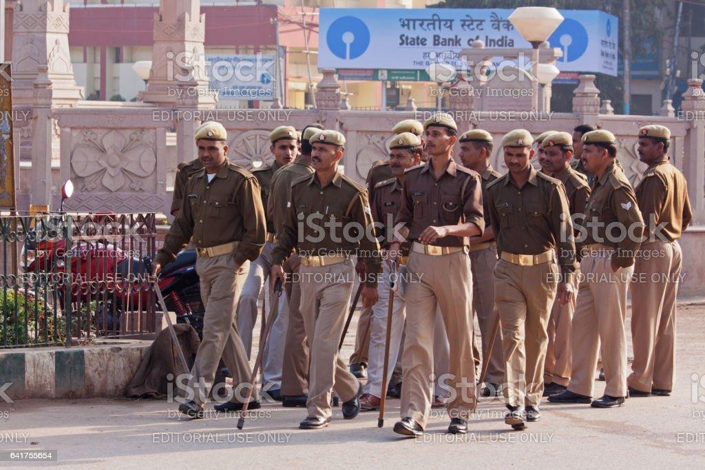 Indian police presence in the ancient city of Varanasi in Uttar Pradesh stock photo
