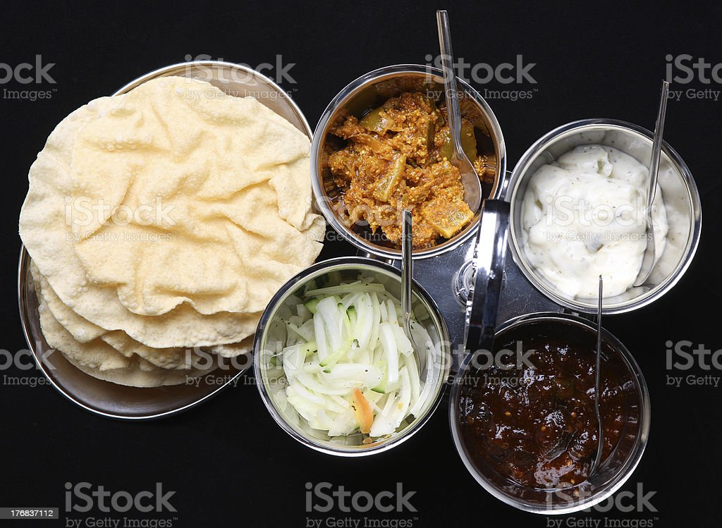 Indian Poppadums & Pickles stock photo