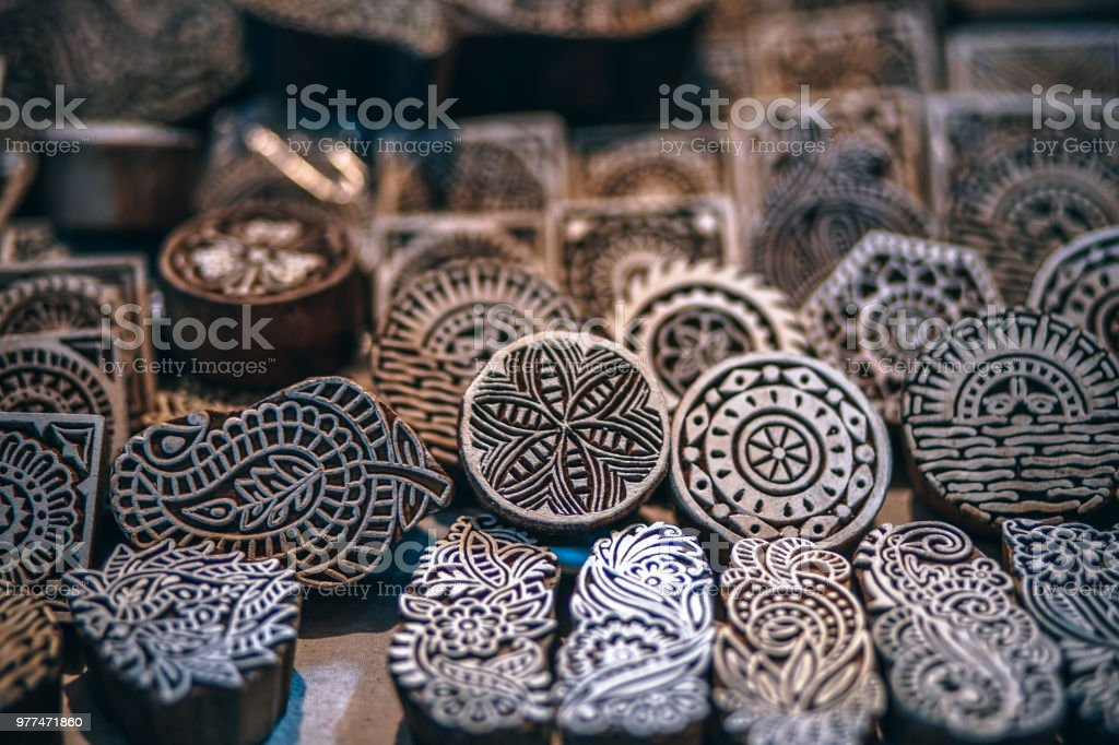 Indian Print Stamps For Sale Stock Photo - Download Image