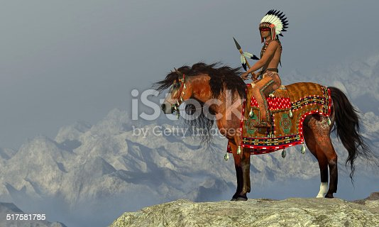 An American Indian sits on his Appaloosa horse on a high cliff in a desert area.