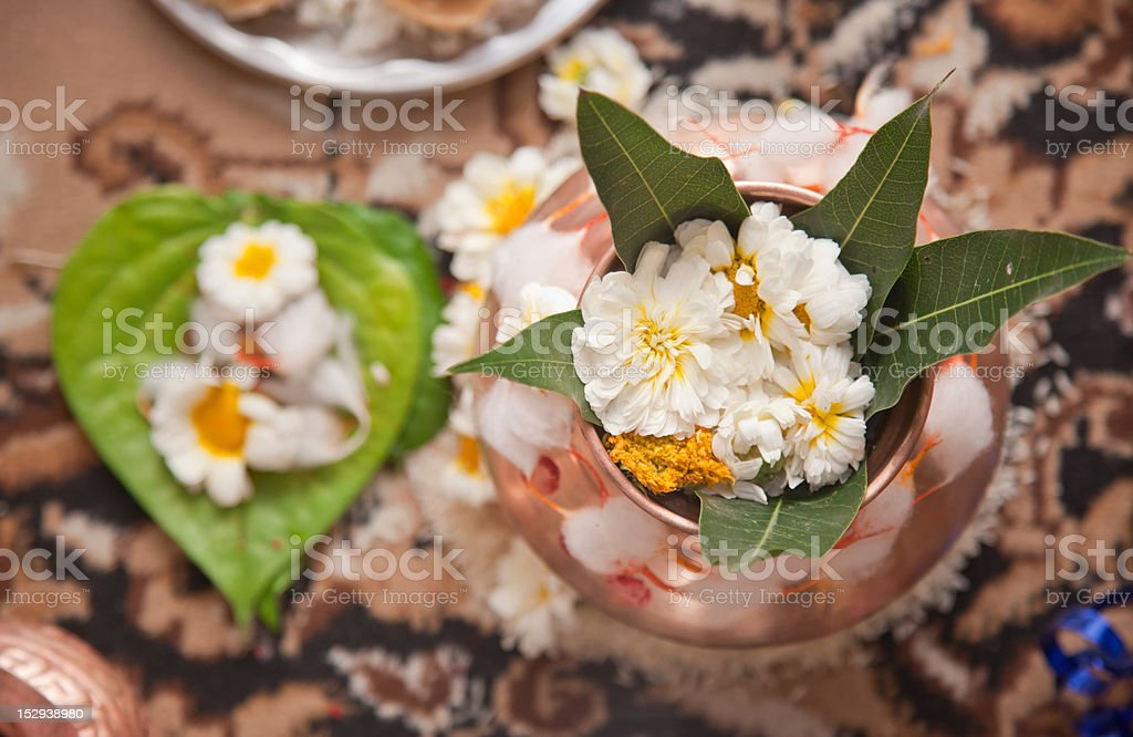 Indian Puja and flowers royalty-free stock photo