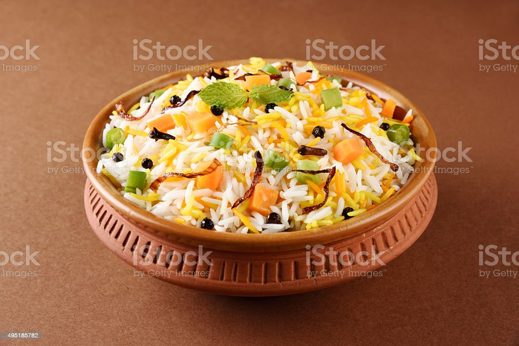 indian pulav, vegetable rice, veg biryani, basmati rice stock photo
