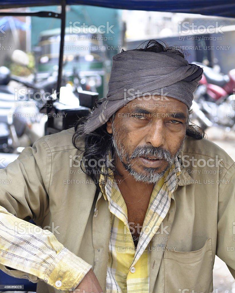Indian Rickshaw Taxi Driver royalty-free stock photo