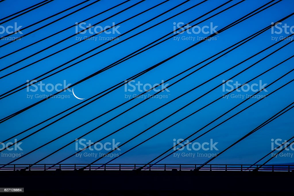 Indian River Inlet Bridge Moon stock photo