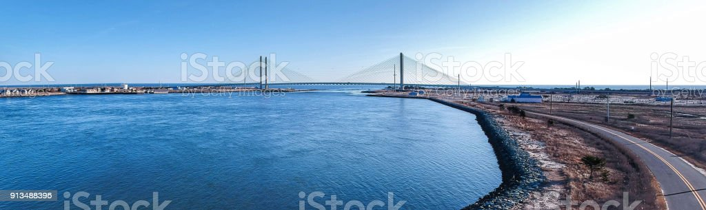 Indian River Inlet Bridge Panorama - Bethany Beach stock photo