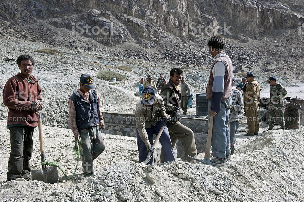 Indian Road Workers in Ladakh royalty-free stock photo