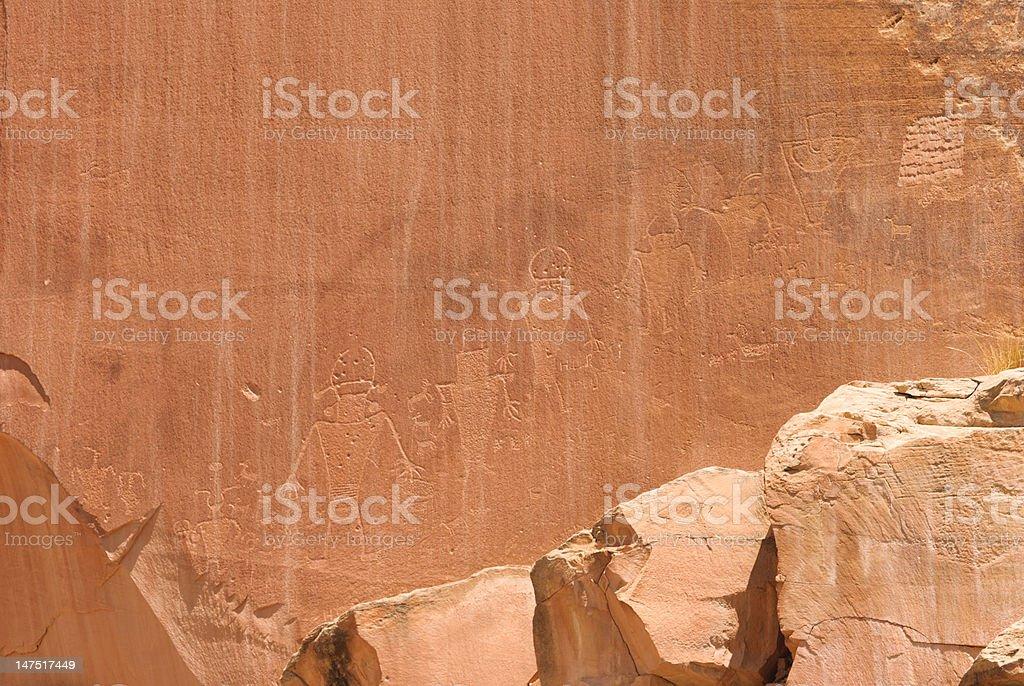Indian Rock Art at Capital Reef stock photo