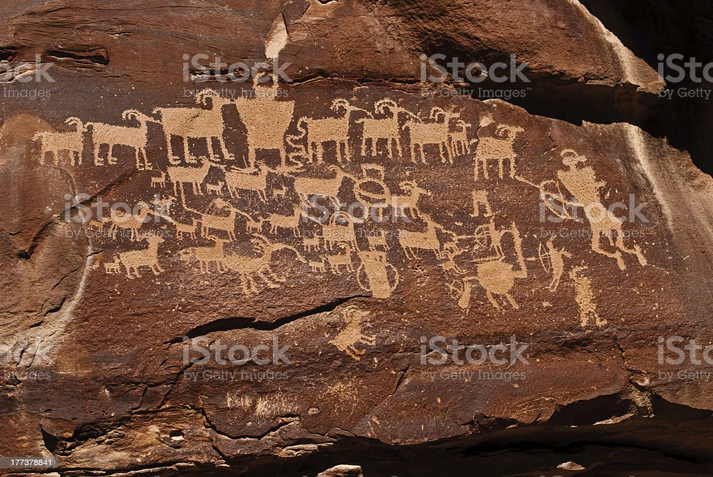 Indian Rock Art, The Hunt stock photo