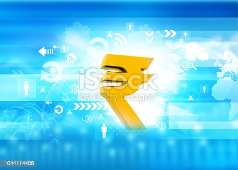 istock Indian Rupee icon on stock market background 1044114408