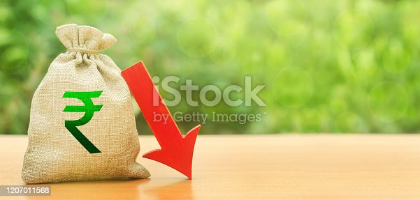 Indian rupee money bag and red arrow down. Economic decline difficulties. Deposit interest rate reduction. Depreciation of national currency. Influence external factors on economy. Devaluation.