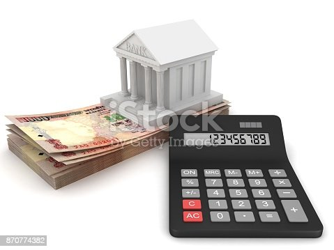 Indian rupee money bank loan calculator stock photo & more.