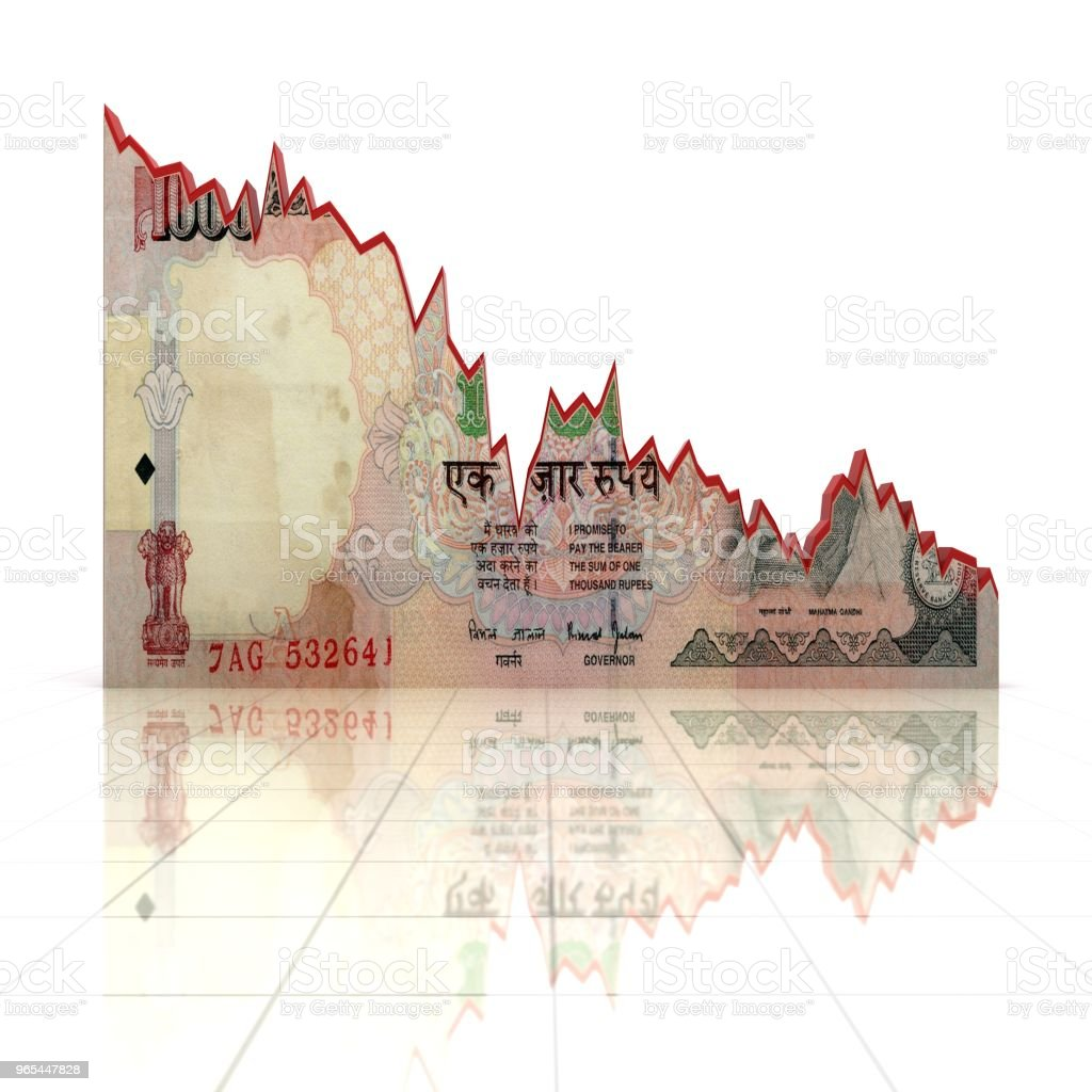 Indian rupee money chart graph finance crisis zbiór zdjęć royalty-free
