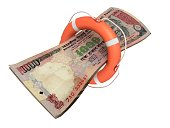 istock Indian rupee money finance crisis help support lifebelt 1249344956