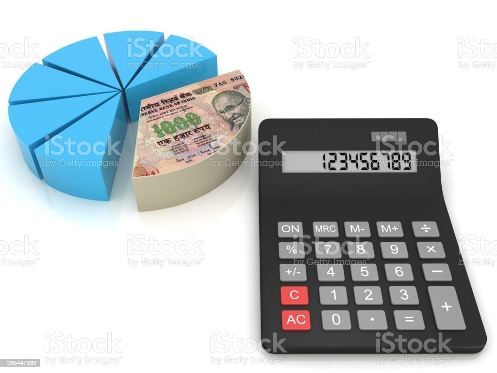 Indian rupee money tax calculator pie chart zbiór zdjęć royalty-free