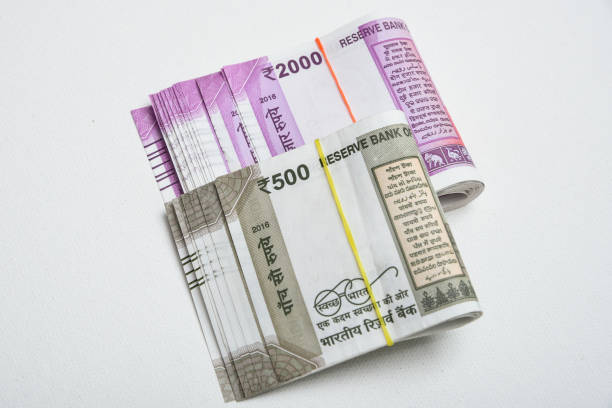 Indian rupee or rupees of India stock photo