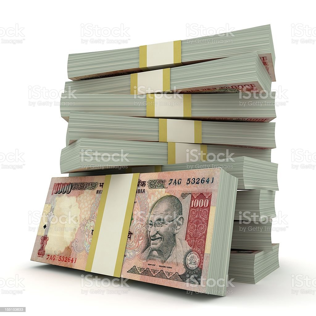 Indian Rupee Pile stock photo