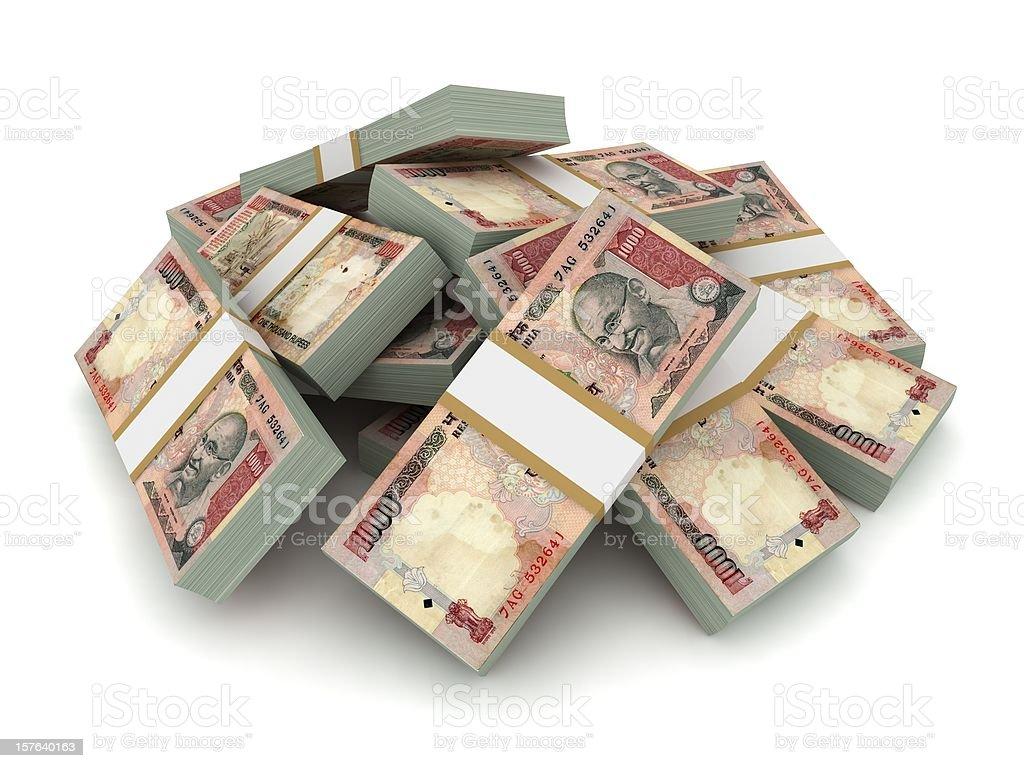 Indian Rupee Pile stock photo