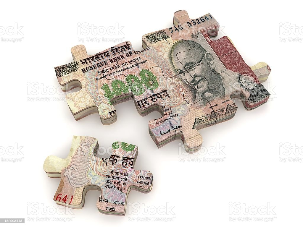 Indian Rupee Puzzle stock photo