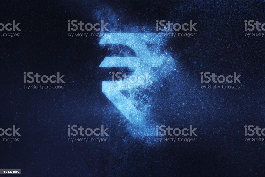 Indische Rupie Zeichen, indische Rupie-Symbol. Abstrakte Nacht Himmelshintergrund – Foto