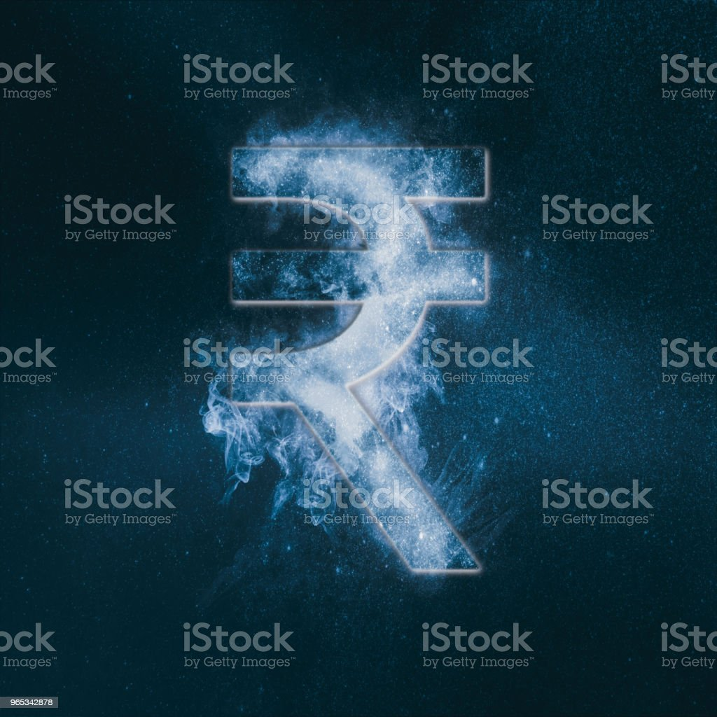Indian Rupee sign, Indian Rupee symbol. Monetary currency symbol. Abstract night sky background. stock photo