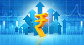 istock Indian rupee sign with stock  market graph background 1257153929