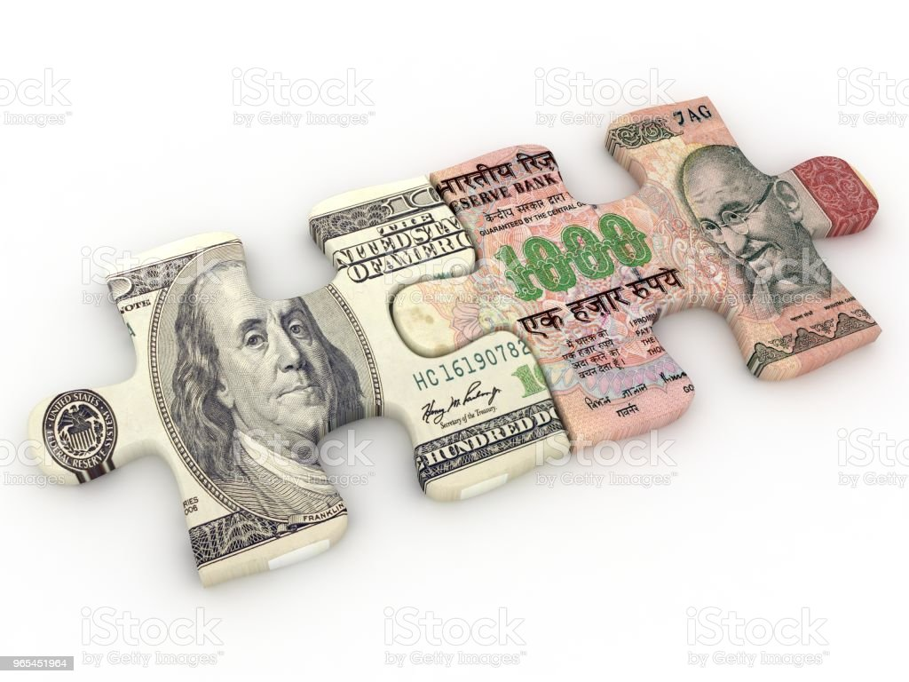 Indian rupee us dollar money exchange puzzle zbiór zdjęć royalty-free