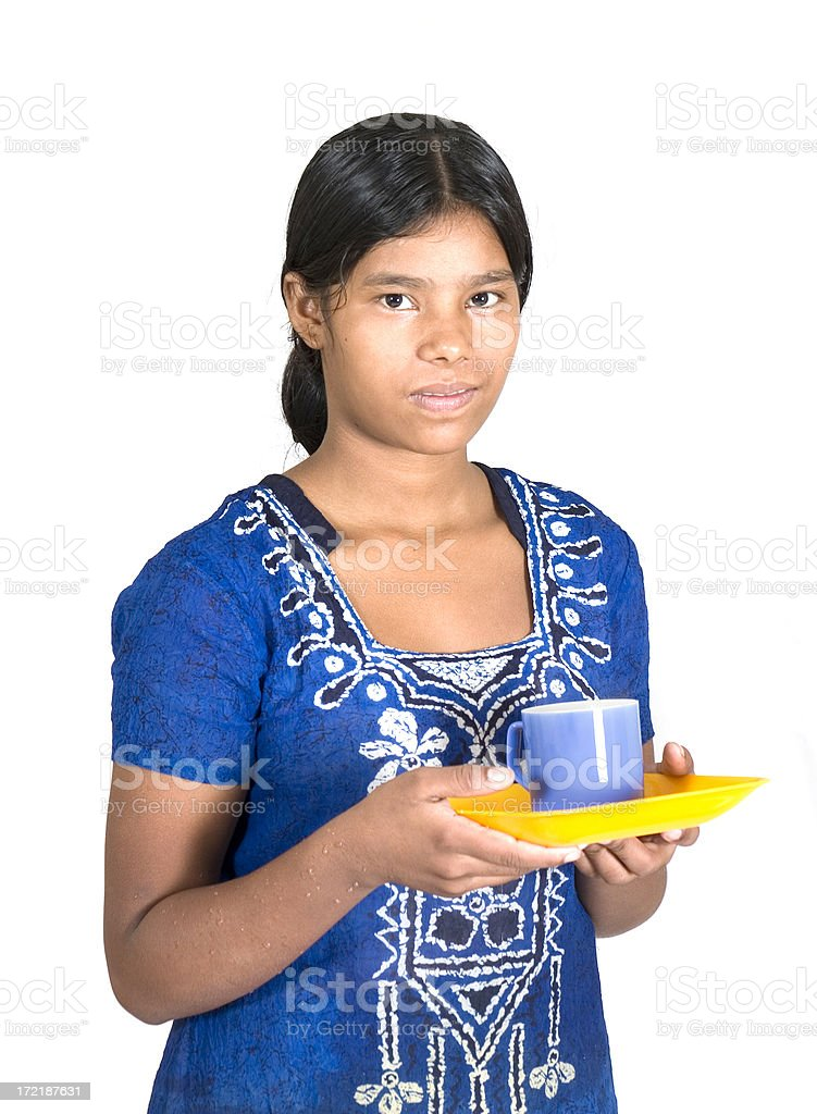 Indian Rural Girl house help Maid Servant isolated on White royalty-free stock photo