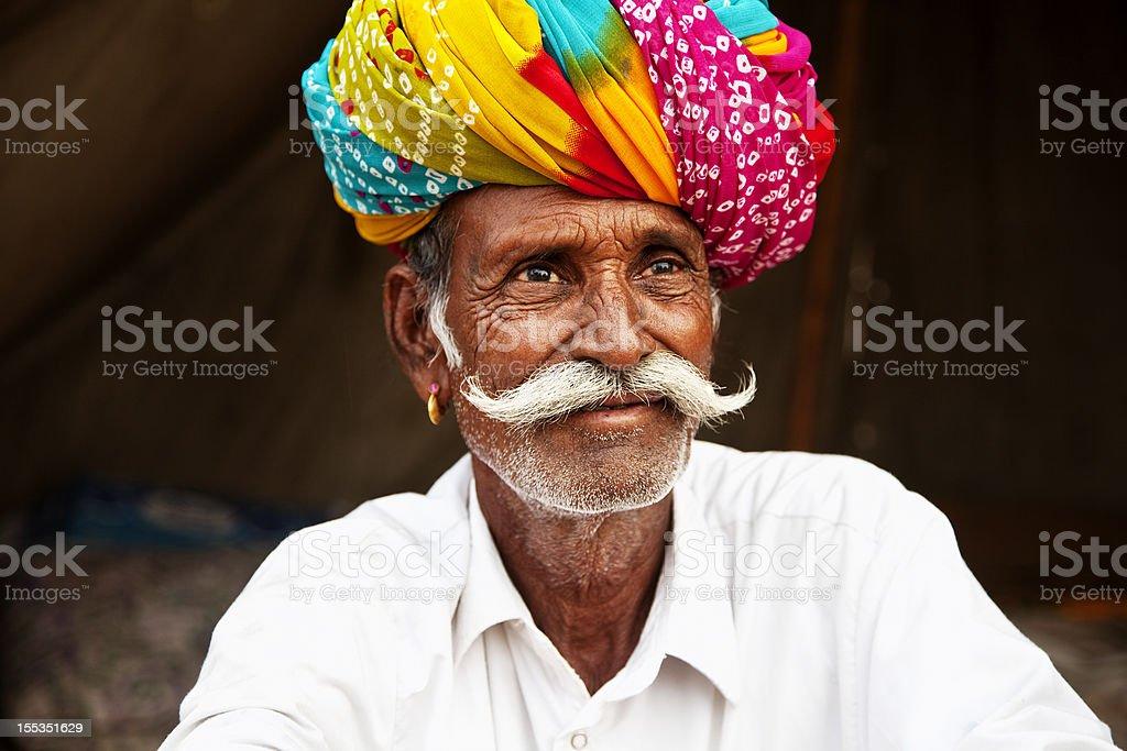 indian rural senior man portrait stock photo