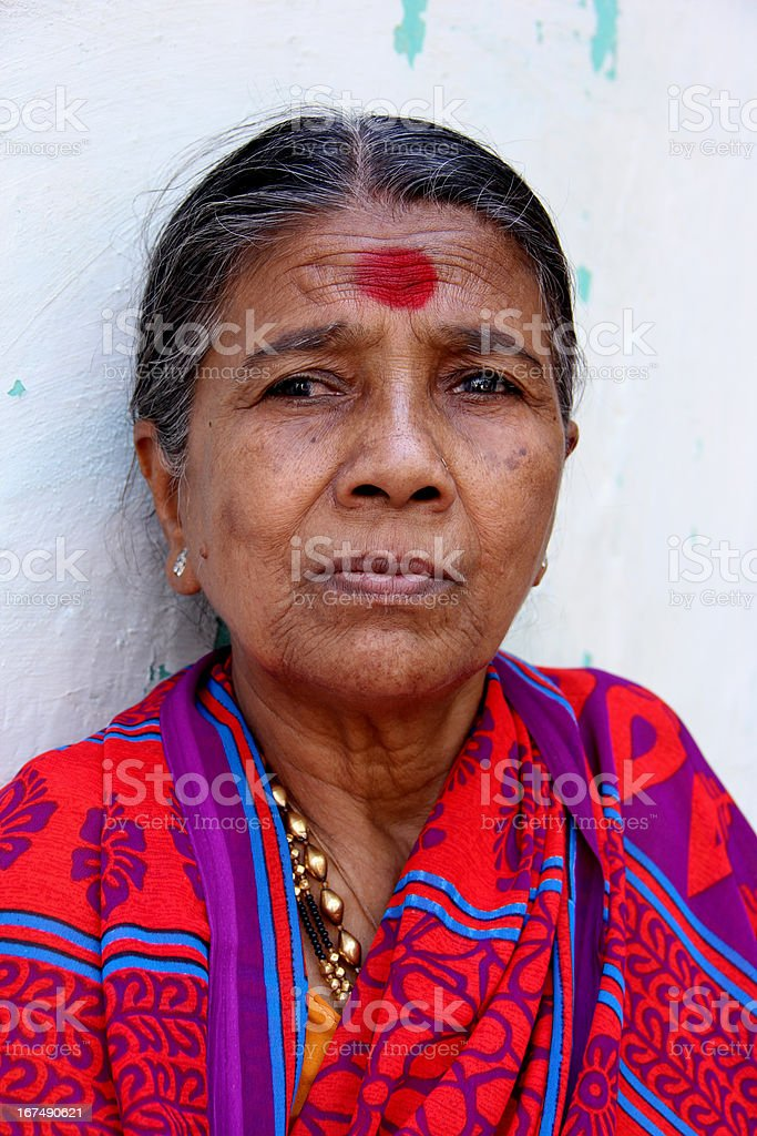 Indian Rural woman in Traditional Sari stock photo