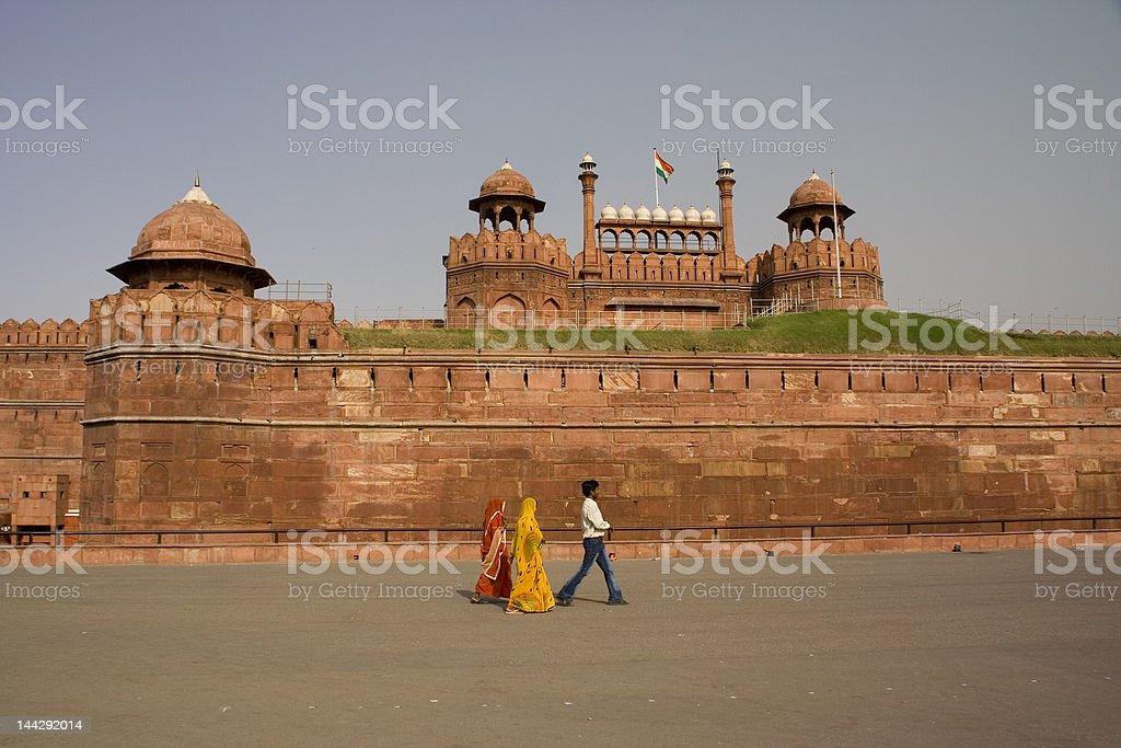 Indian saris Red Ford, Delhi, India royalty-free stock photo