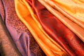 Indian scarves in many colors for display