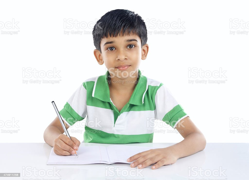 Indian School Boy Posing to Camera stock photo