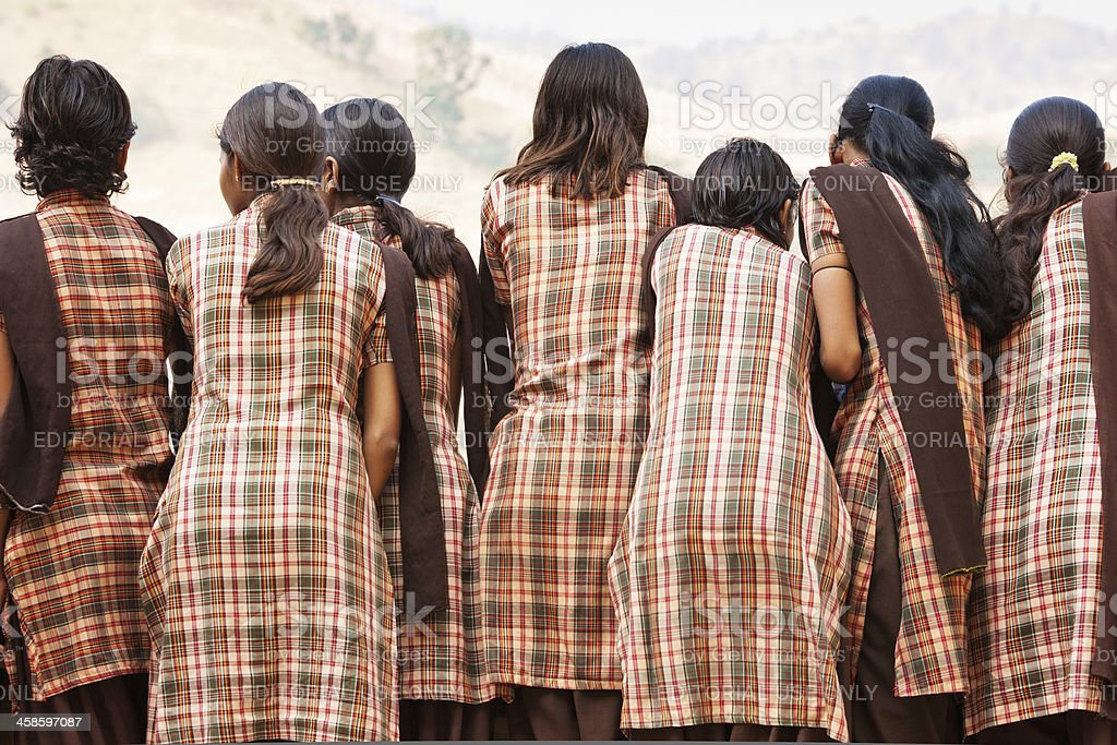 Indian School Children in Uniforms royalty-free stock photo