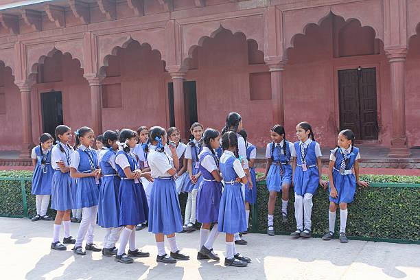 Indian Schoolgirls In School Uniforms stock photo