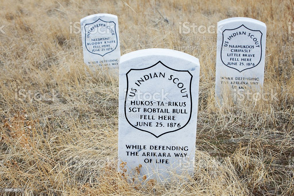 Indian Scout Death Markers at Little Bighorn Battlefield Monument stock photo