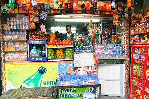 Indian shop stall stock photo