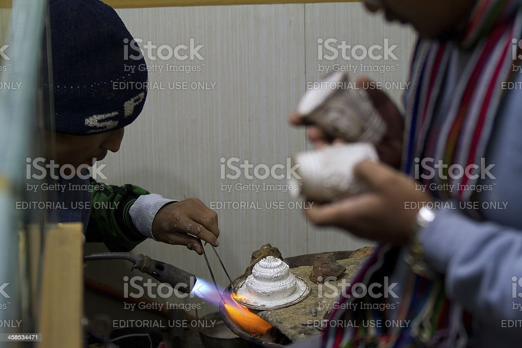 Indian silversmiths in New Delhi royalty-free stock photo