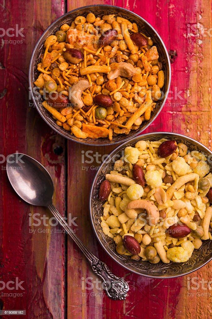 indian snack farsan or chivda of pharsan stock photo