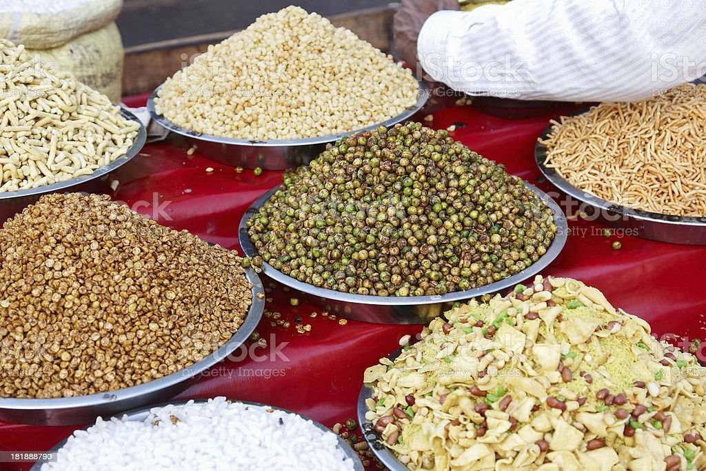 Indian snacks for sale on street royalty-free stock photo