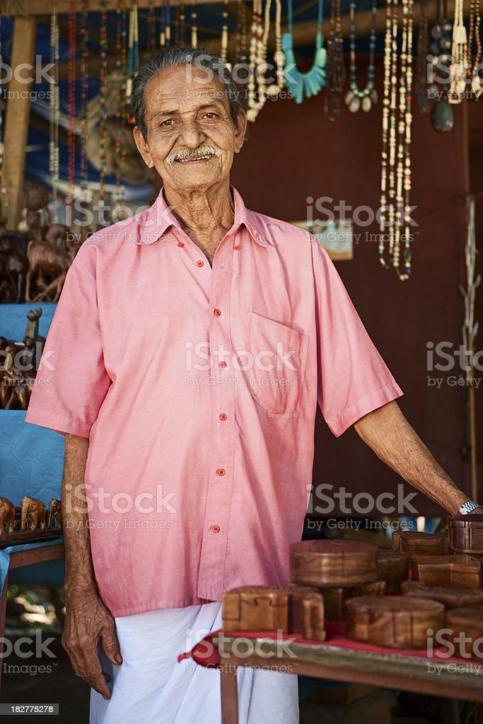 Indian souvenir seller royalty-free stock photo