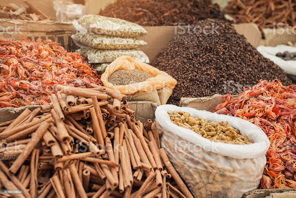 Indian spice market stock photo