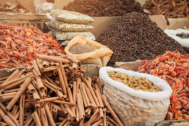 Indian spice market stock photo