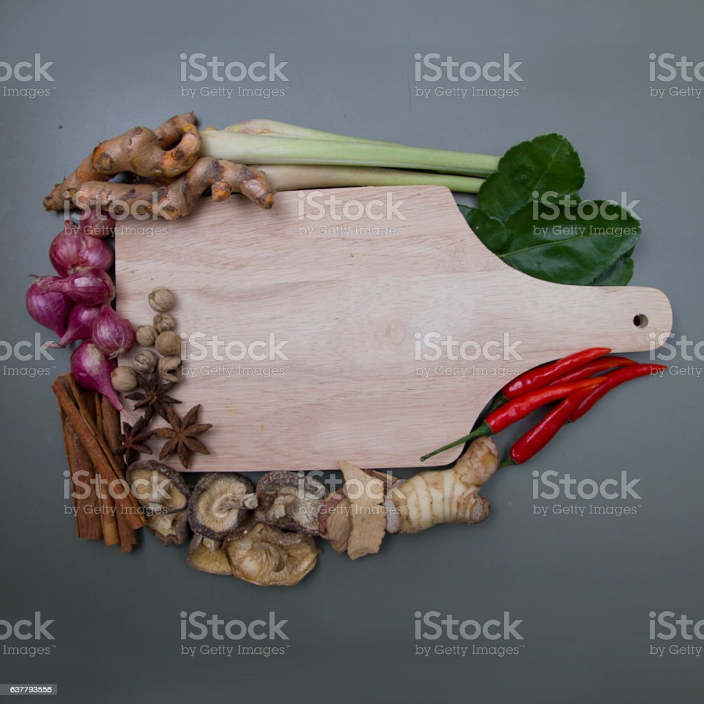 Indian spices and herbs stock photo