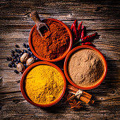 istock Indian spices background: cinnamon powder, paprika and turmeric 1270285132
