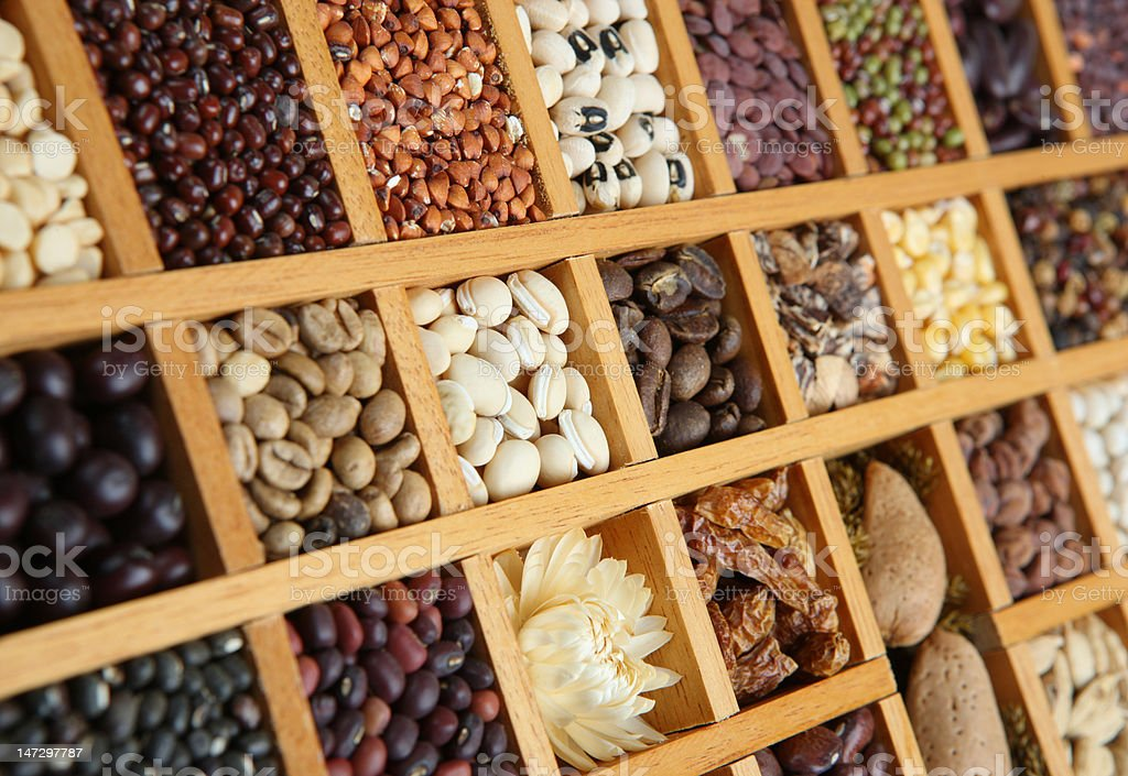 Indian Spices, Beans and Seeds royalty-free stock photo